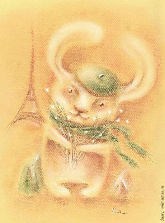 """Фантазийные сюжеты ручной работы. Ярмарка Мастеров - ручная работа. Купить Картина пастелью """"А вот и весна"""". Handmade. Бежевый, заяц"""