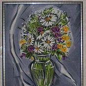 Картины и панно ручной работы. Ярмарка Мастеров - ручная работа Панно-Батик ``Полевые цветы``. Handmade.