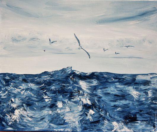 Пейзаж ручной работы. Ярмарка Мастеров - ручная работа. Купить deep blue sea (60-40) не требует рамы discount Скидка. Handmade.