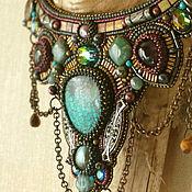 handmade. Livemaster - original item Necklace with turquoise Ethno glamour. Natures`. stones, metal, Swarovski, chains. Handmade.