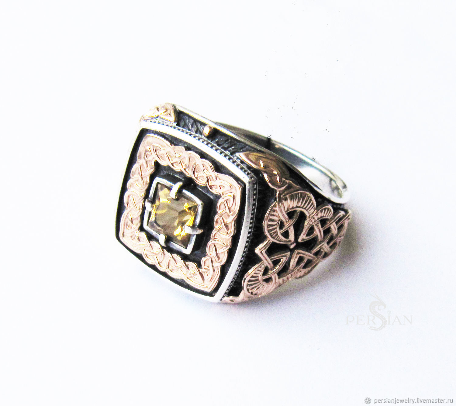 Ring with citrine and gold patterns, Ring, Sevastopol,  Фото №1