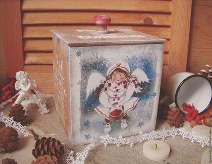 """Корзины, коробы ручной работы. Ярмарка Мастеров - ручная работа. Купить """"К вам ангел прилетел"""" - короб для сладостей. Handmade."""