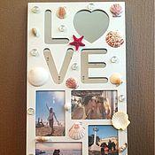 """Сувениры и подарки ручной работы. Ярмарка Мастеров - ручная работа Фоторамка с зеркалом """"LOVE"""". Handmade."""
