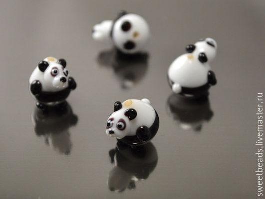 Для украшений ручной работы. Ярмарка Мастеров - ручная работа. Купить Панда лампворк лэмпворк, черно-белый. Handmade.