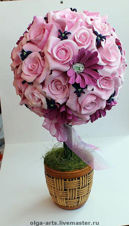 """Топиарии ручной работы. Ярмарка Мастеров - ручная работа. Купить Топиарий. """"Розовый куст"""". Handmade. Декор для интерьера, интерьерный топиарий"""