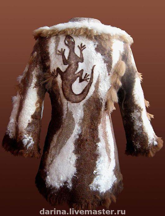 """Пиджаки, жакеты ручной работы. Ярмарка Мастеров - ручная работа. Купить пальто  валяное """"Ящерица на горном склоне"""". Handmade."""