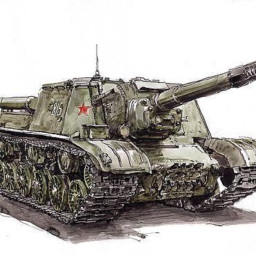 Картины и панно ручной работы. Ярмарка Мастеров - ручная работа Рисунок, самоходная артиллерийская установка ИСУ-152. Handmade.