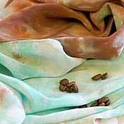 Аксессуары ручной работы. Ярмарка Мастеров - ручная работа Платок батик Кофе и мятный чай. Зеленый. Мятный. Крепдешиновый платок. Handmade.