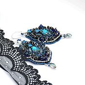 """Украшения ручной работы. Ярмарка Мастеров - ручная работа Серьги """"Luxury sapphire"""". Handmade."""