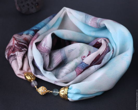 """Колье, бусы ручной работы. Ярмарка Мастеров - ручная работа. Купить Колье """"Венеция"""" из шелка и флюоритов. Handmade. Голубой"""
