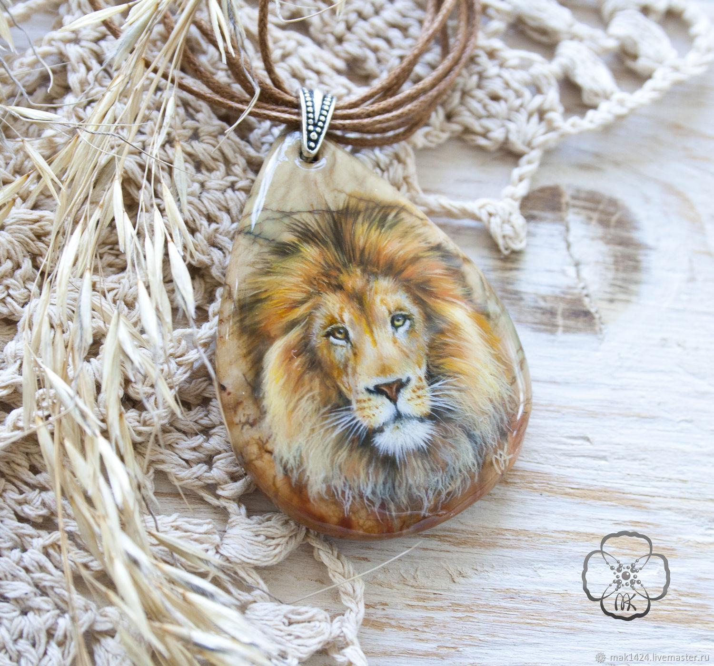 Кулон со львом роспись на камне, Камни, Чита,  Фото №1