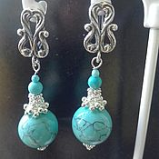Украшения handmade. Livemaster - original item beaded jewelry. earrings long turquoise. Handmade.