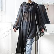 Одежда ручной работы. Ярмарка Мастеров - ручная работа Черное асимметричное макси платье, туника, пончо, топ из шифона. Handmade.