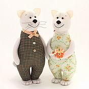 Мягкие игрушки ручной работы. Ярмарка Мастеров - ручная работа Ситцевые коты – символ домашнего очага. Подарок на ситцевую свадьбу. Handmade.