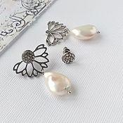 Украшения handmade. Livemaster - original item Stud earrings with Baroque pearls silver, Kaffa earrings. Handmade.