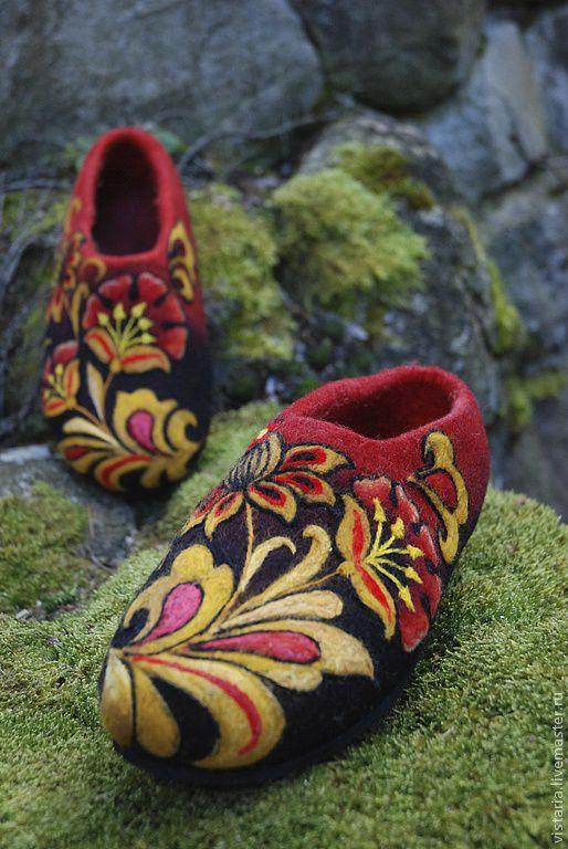 Обувь ручной работы. Ярмарка Мастеров - ручная работа. Купить Тапочки «Золотые маки» Хохлома. Handmade. Тапочки ручной работы
