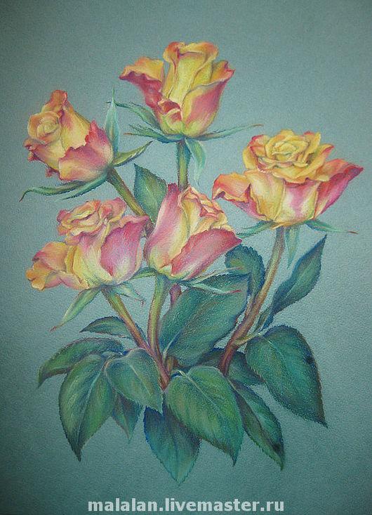"""Картины цветов ручной работы. Ярмарка Мастеров - ручная работа. Купить Картина """"Подарок от учеников"""". Handmade. Комбинированный, цветы"""