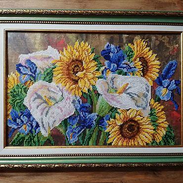 Картины и панно ручной работы. Ярмарка Мастеров - ручная работа Картины: Букет с каллами. Handmade.