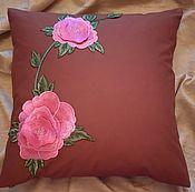 Для дома и интерьера ручной работы. Ярмарка Мастеров - ручная работа чехол-наволочка на подушку розовые цветы. Handmade.