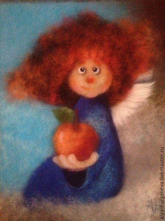 Фантазийные сюжеты ручной работы. Ярмарка Мастеров - ручная работа. Купить Ангел с яблочком. Handmade. Рыжий, картина, картина в детскую