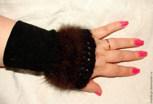 Митенки из собачьей шерсти арт№51ж .Бонусные. Ручное вязание . Пряжа из собачьей шерсти .