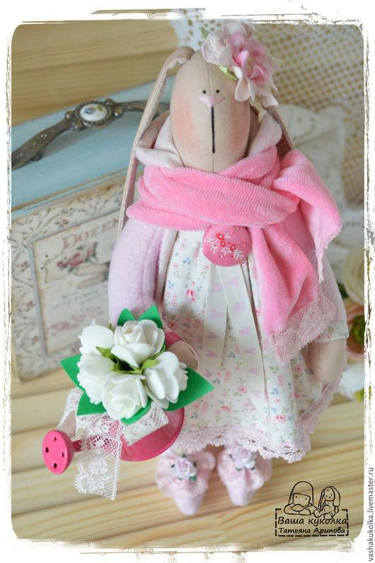 Куклы Тильды ручной работы. Ярмарка Мастеров - ручная работа. Купить Весенняя зайка Нежность. Handmade. Бледно-розовый, цветы