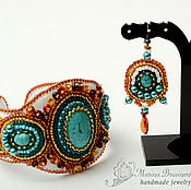 Украшения handmade. Livemaster - original item Bracelet and earrings beaded with amber white turquoise. Handmade.