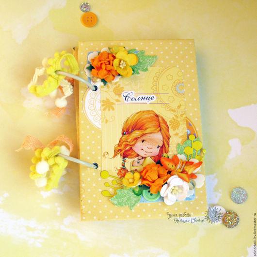 Персональные подарки ручной работы. Ярмарка Мастеров - ручная работа. Купить Блокнот для солнечной девочки. Handmade. Желтый, бумажные цветы