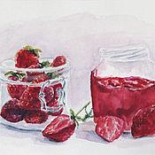 Картины и панно handmade. Livemaster - original item Watercolor. Strawberry jam. Handmade.