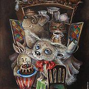 Картины и панно ручной работы. Ярмарка Мастеров - ручная работа картина на холсте маслом в багете День рождения щенка. Handmade.