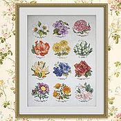 Картины ручной работы. Ярмарка Мастеров - ручная работа Сэмплер: Вышивка крестом Цветочный календарь. Handmade.