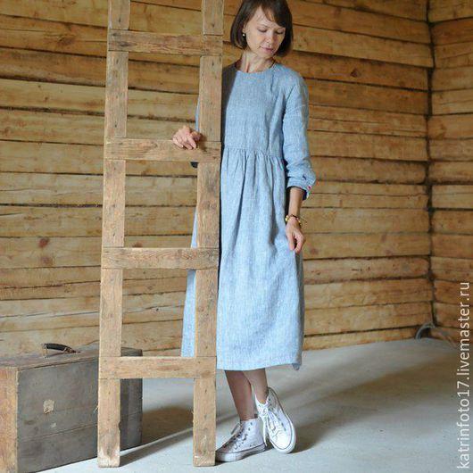 """Платья ручной работы. Ярмарка Мастеров - ручная работа. Купить Платье """"Зарницы"""". Handmade. Голубой, свободное платье"""