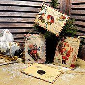 """Новогодние подвески на елку """"Письма от Деда Мороза"""" декупаж"""