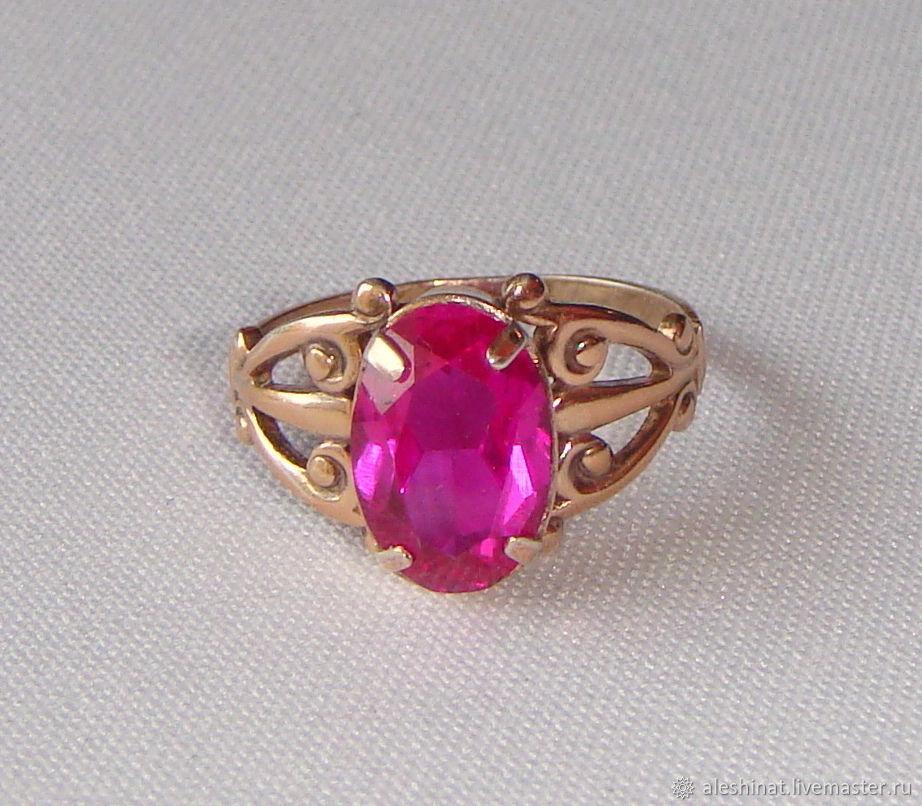 Silver Ring Corundum ruby Tourmaline Silver 875 Gold plated star, Vintage ring, Saratov,  Фото №1
