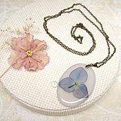 Украшения handmade. Livemaster - original item Translucent Pendant with a Blue Flower Hydrangea Botanica Eco Resin. Handmade.