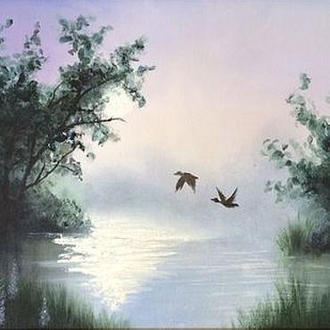 """Картины и панно ручной работы. Ярмарка Мастеров - ручная работа Картина """"Утро над озером"""" (холст, масло). Handmade."""