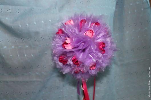 Топиарии ручной работы. Ярмарка Мастеров - ручная работа. Купить Тюльпановый топиарий. Handmade. Фиолетовый, органза, искусственные цветы, бусины