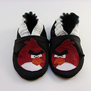 """Обувь ручной работы. Ярмарка Мастеров - ручная работа Кожаные мокасины """"Злые птички"""",тапочки,чешки,домашняя обувь. Handmade."""