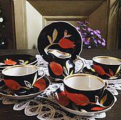 Посуда ручной работы. Ярмарка Мастеров - ручная работа Сервиз (чайные пары, тарелки, сливочник) Тюльпан, Дулево, 1968г. Handmade.