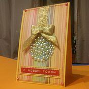 """Открытки ручной работы. Ярмарка Мастеров - ручная работа Желтая новогодняя открытка """"Жемчужный шар"""". Handmade."""