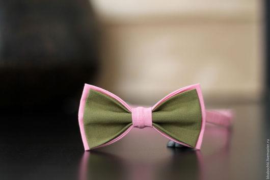 Галстуки, бабочки ручной работы. Ярмарка Мастеров - ручная работа. Купить Бабочка хаки-розовая детская/взрослая. Handmade. Оливковый