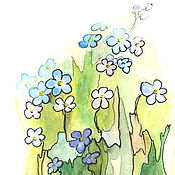 Картины и панно handmade. Livemaster - original item Picture forget-me-not watercolor 13х18 cm. Handmade.