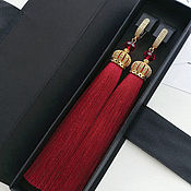 Украшения handmade. Livemaster - original item Red earrings tassels and gold hardware. The LUX collection. Handmade.