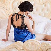 """Одежда ручной работы. Ярмарка Мастеров - ручная работа """"Королевский синий"""" - синяя сорочка с черным кружевом. Handmade."""