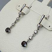 Украшения handmade. Livemaster - original item Silver earrings with garnets 6 mm and cubic zirconia. Handmade.
