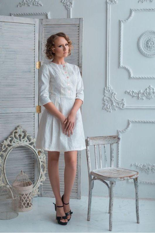 Платья ручной работы. Ярмарка Мастеров - ручная работа. Купить Платье. Handmade. Молочный цвет, платье повседневное, платье для офиса