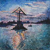 """Картины и панно ручной работы. Ярмарка Мастеров - ручная работа """"Соловки. Поклонный крест"""" акварель. Handmade."""