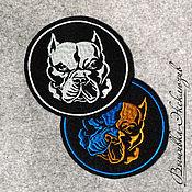 Для домашних животных, ручной работы. Ярмарка Мастеров - ручная работа Вышитая эмблема Питбуль. Handmade.