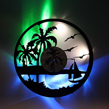 For home and interior handmade. Livemaster - original item Wall clock with led light from the rest plate. Handmade.
