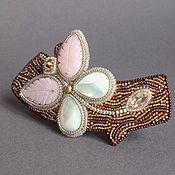 Украшения handmade. Livemaster - original item Barrette CARAMEL DRAGONFLY opal, pearl, swarovski, beads. Handmade.